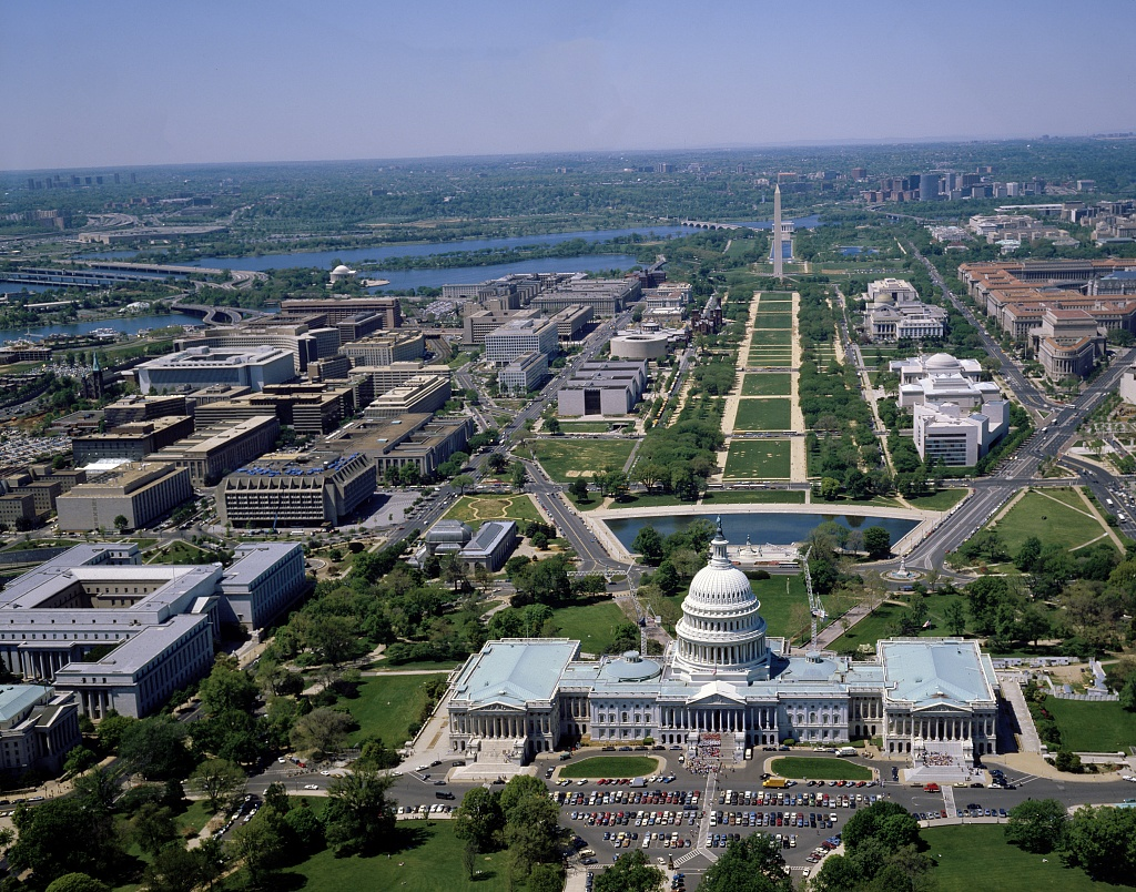 Aerial Photography of Washington DC With Monuments and Historical Buildings